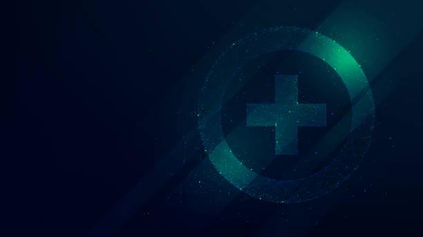 illustrazioni stock, clip art, cartoni animati e icone di tendenza di hi-tech background with pharmacy icon, innovative technologies in medicine - croce farmacia