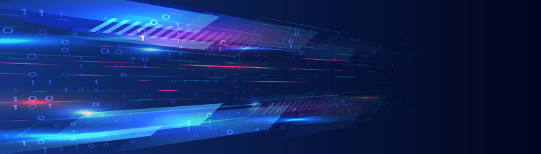 Hi-tech computer digital technology concept. Abstract technology communication. Neon glowing lines. Speed and motion blur over dark  background. Web banner. Wide background with various technological elements.