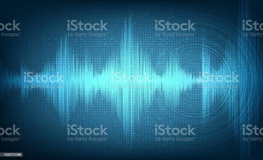 Hi-Tech Digital Sound Wave with Circle Vibration on Light Blue...