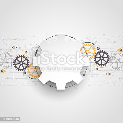 Vector illustration gear wheel, Hi-tech digital technology and engineering, digital  technology concept.