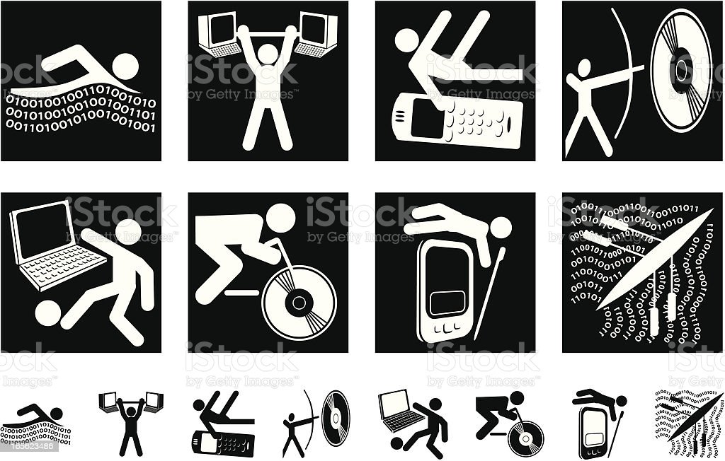 Hi-Tech Olympic Icons royalty-free hitech olympic icons stock vector art & more images of archery