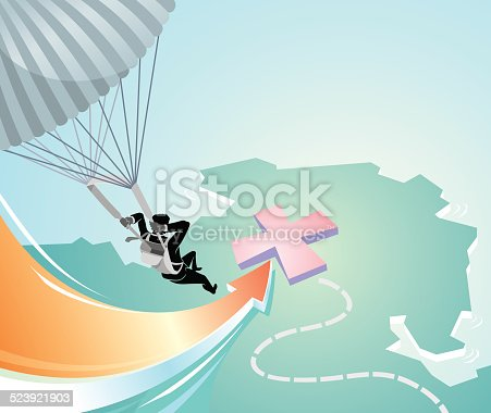 Businessman parachuting to desired position or area or territory for expansion and investment.
