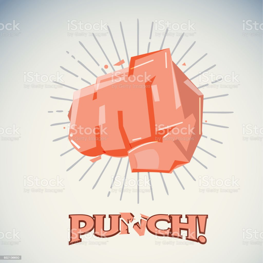 Hitting fist. protest and attact concept - vector vector art illustration