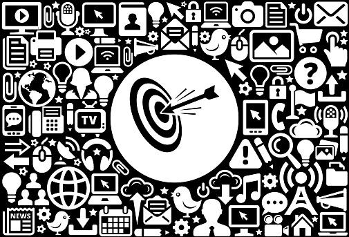 Hitting Target  Icon Black and White Internet Technology Background