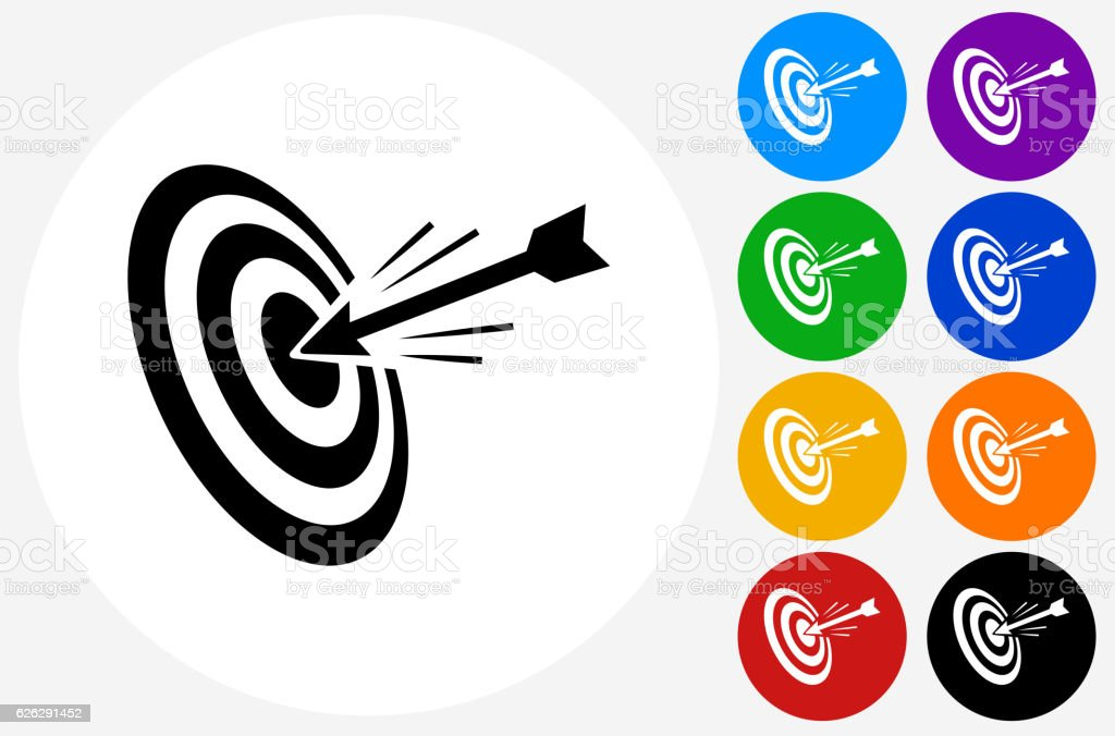 Hitting Target Icon on Flat Color Circle Buttons vector art illustration
