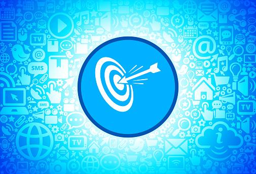 Hitting Target  Icon on Internet Technology Background