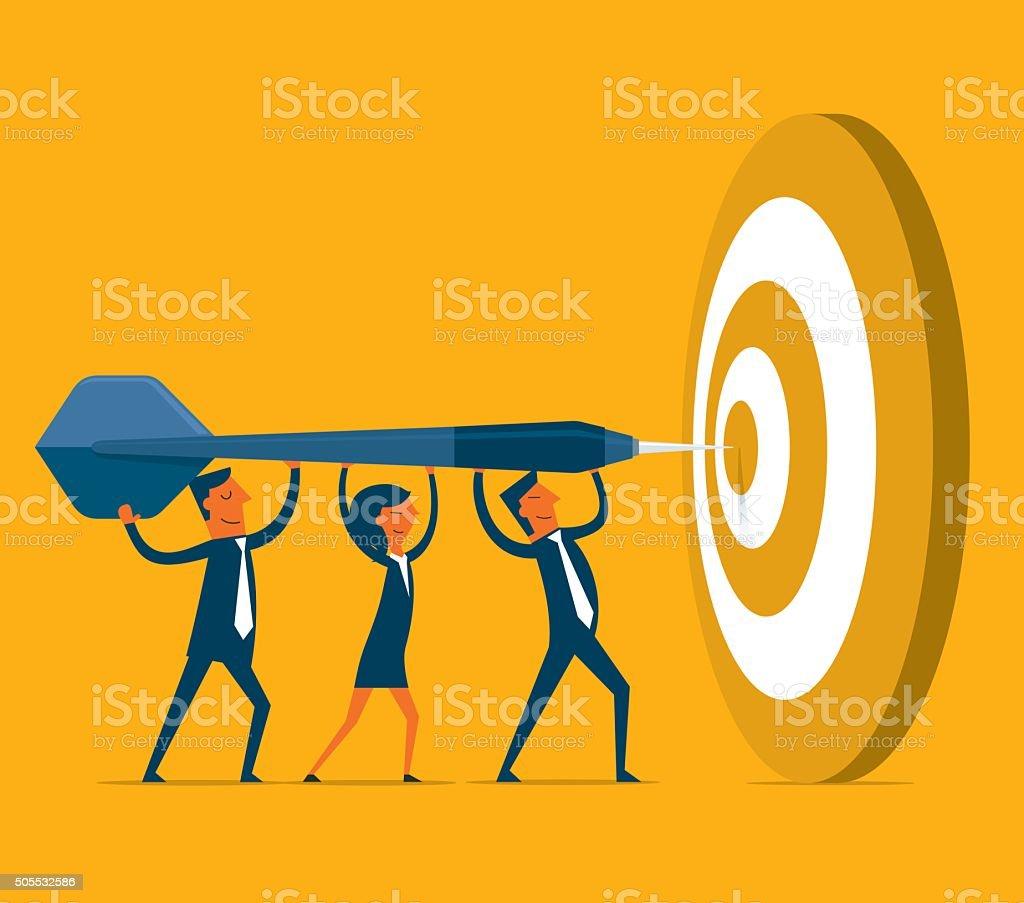 Hitting the target vector art illustration