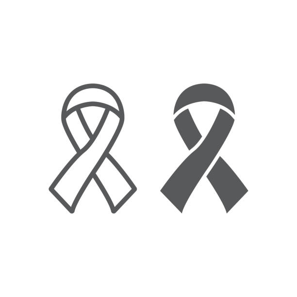 Best Cancer Ribbon Outline Illustrations, Royalty-Free