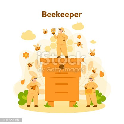 istock Hiver or beekeeper concept. Professional farmer with hive 1267292691