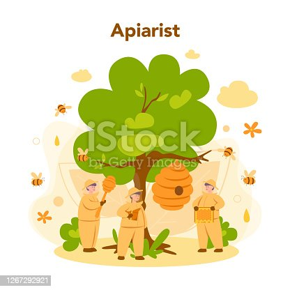 istock Hiver or beekeeper concept. Professional farmer with hive 1267292921