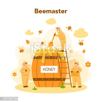 istock Hiver or beekeeper concept. Professional farmer with hive 1267294708