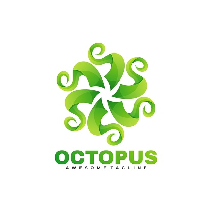 Vector Logo Illustration Octopus Gradient Colorful Style.