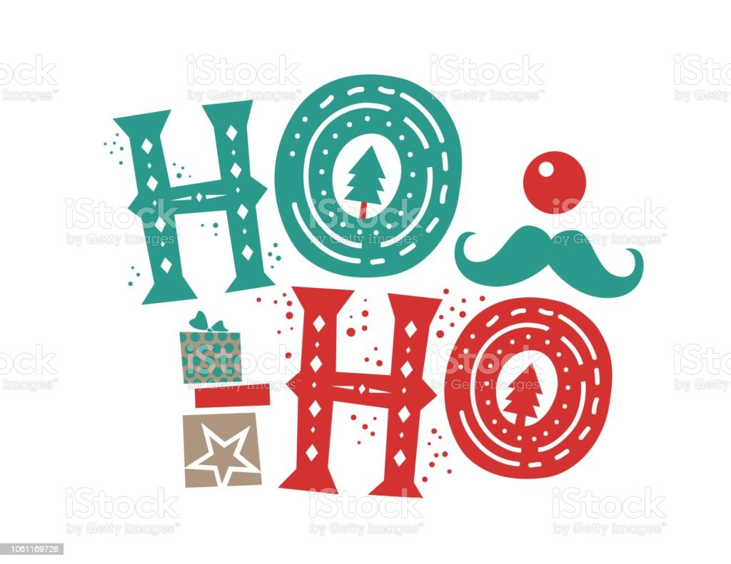 Ho Ho Ho Christmas Quote And Illustration Box Gift For Christmas ...