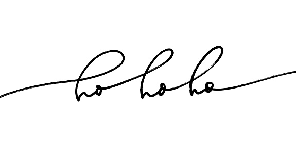 Ho ho ho phrase, vector modern calligraphy. Christmas greeting card with modern pen lettering.