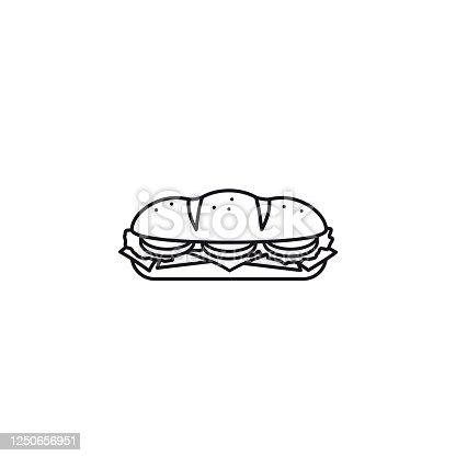 istock Hoagie or sub with tomato, lettuce, ham, cheese isolated vector line icon 1250656951