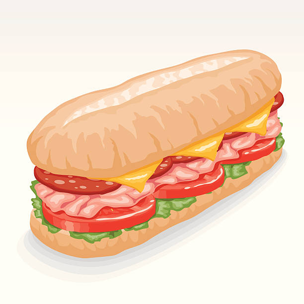 hoagie submarine sandwich - sub sandwich stock illustrations, clip art, cartoons, & icons