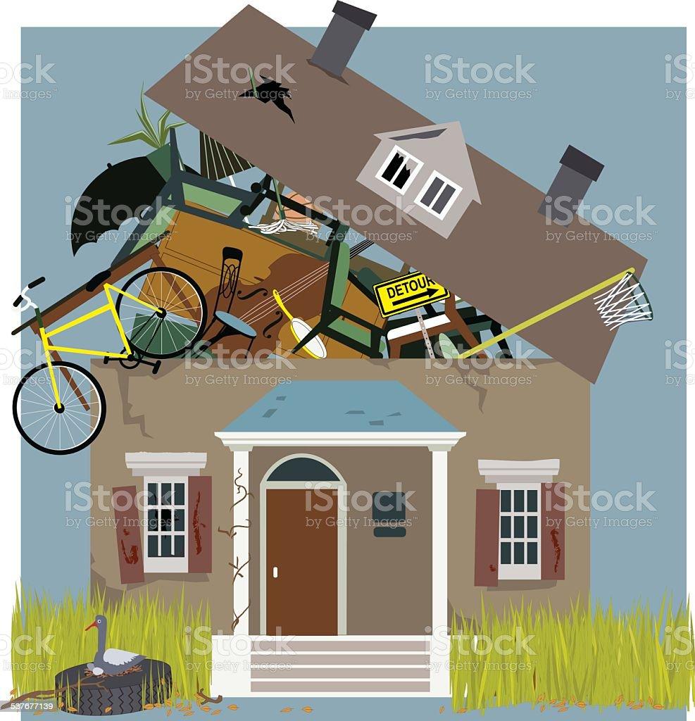 Hoarder House vector art illustration