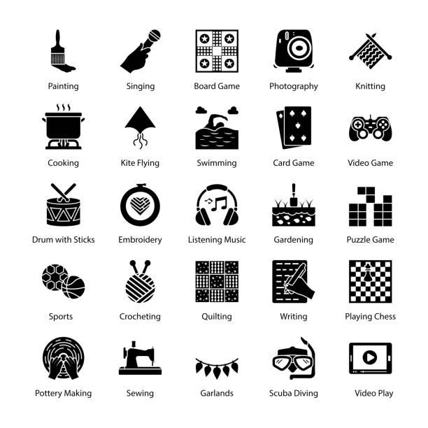 hobbys und interesse glyph icons pack - gehäkelte lebensmittel stock-grafiken, -clipart, -cartoons und -symbole