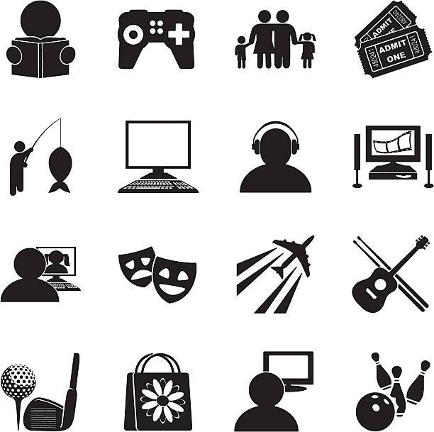 Hobbies Icon Set Hobbies icons hobbies stock illustrations