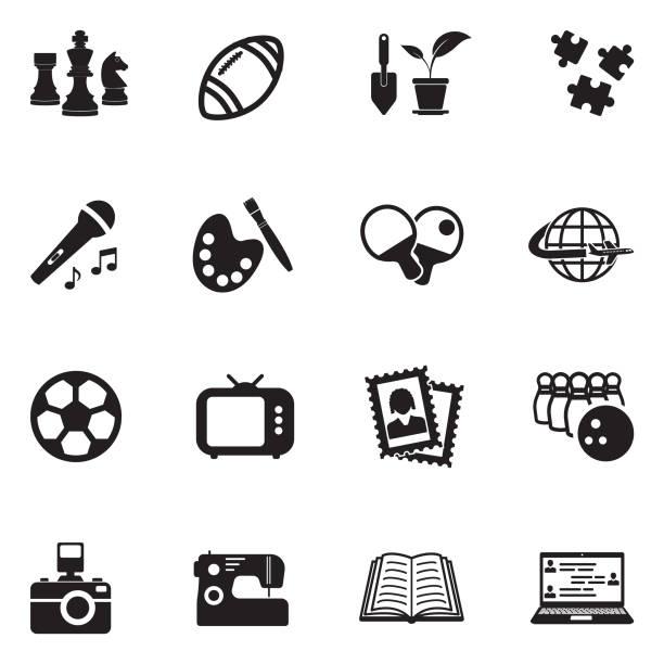 Hobbies Icons. Black Flat Design. Vector Illustration. Photograph, Technology, Hobbies, Chess hobbies stock illustrations