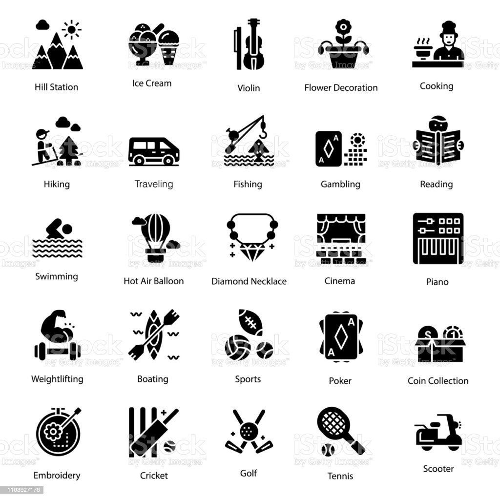 Hobbies Icons Set Stock Illustration Download Image Now Istock