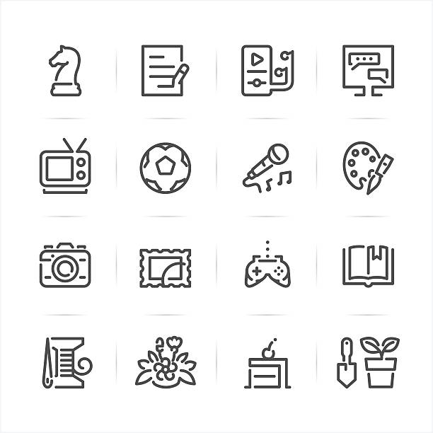 Hobbies Icons Hobbies icons with White Background hobbies stock illustrations