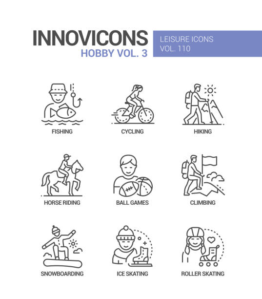 Hobby and activities - line design style icons set vector art illustration