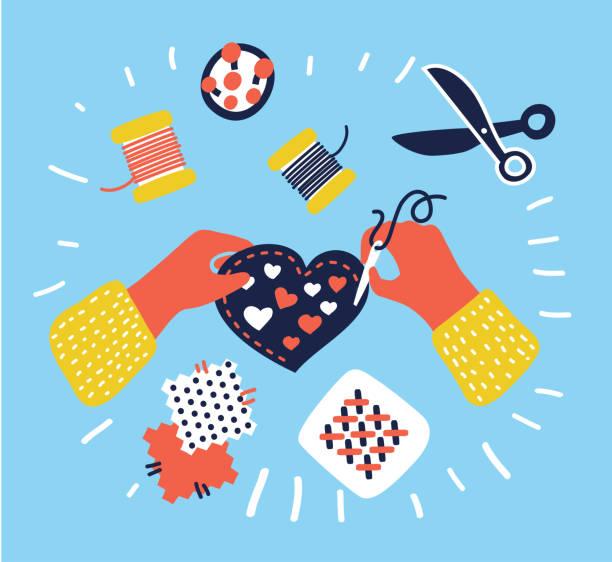 Bandeira de hobby e artesanato, pessoas que trabalham na costura, mãos vista de superior - ilustração de arte em vetor