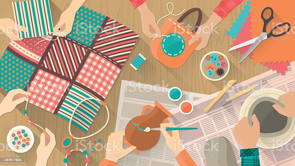 Hobby and crafts banner vector art illustration