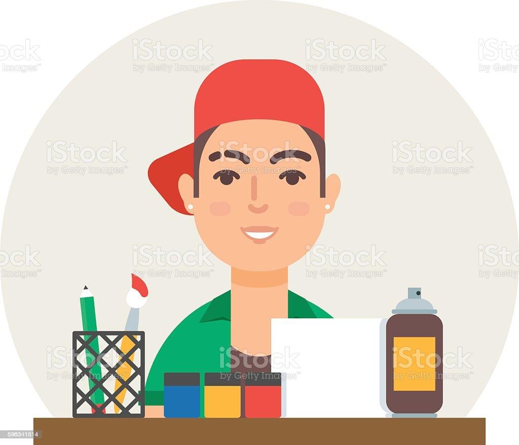Hobby - art. Modern artist vector illustration flat style Lizenzfreies hobby art modern artist vector illustration flat style stock vektor art und mehr bilder von berufliche beschäftigung