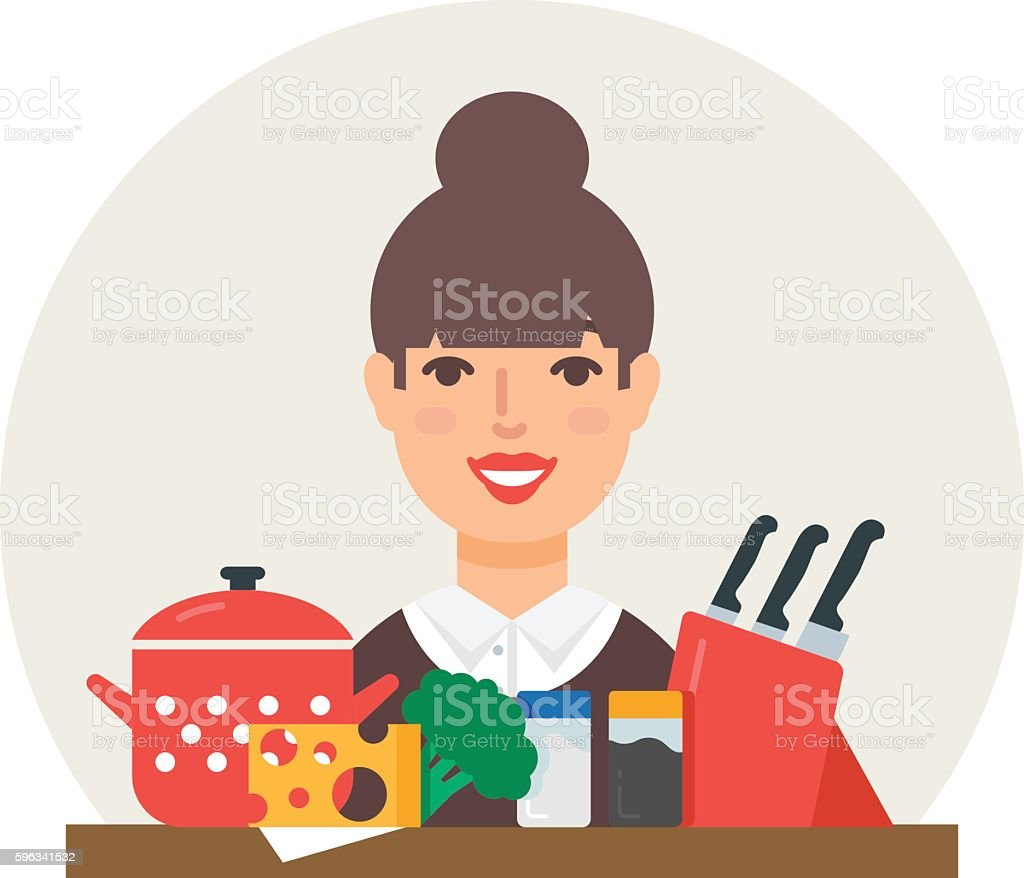 Hobby - cooking. Cook vector illustration flat style royalty-free hobby cooking cook vector illustration flat style stock vector art & more images of adult