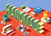 Hobby crafts isometric composition with various tools for creating handmade objects 3d vector illustration