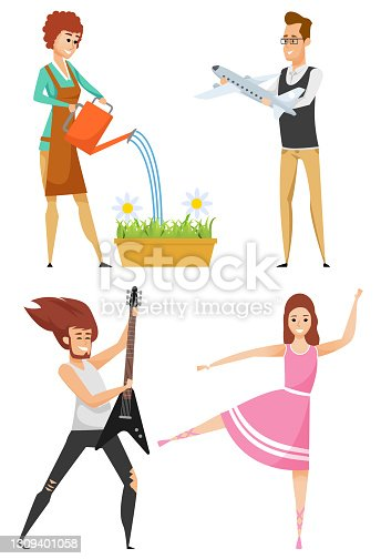 istock Hobby Dance and Play, Garden and Collect Vector 1309401058