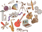 A collection of hand drawn vector hobby symbols.
