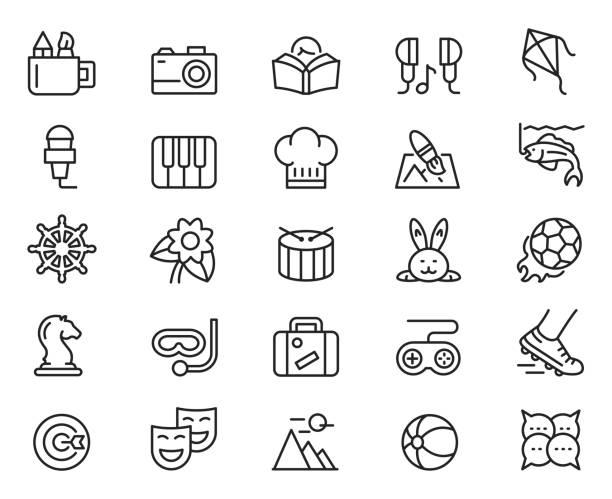 Hobby icon set Hobby icon set , vector illustration hobbies stock illustrations