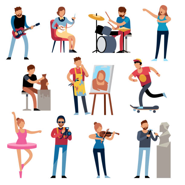 hobby persons. people of creative professions at work. artistic occupations, retro hobbies cartoon characters vector set - muzyk stock illustrations