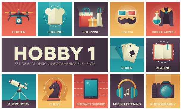 hobby - set of flat design infographics elements - hobby stock illustrations