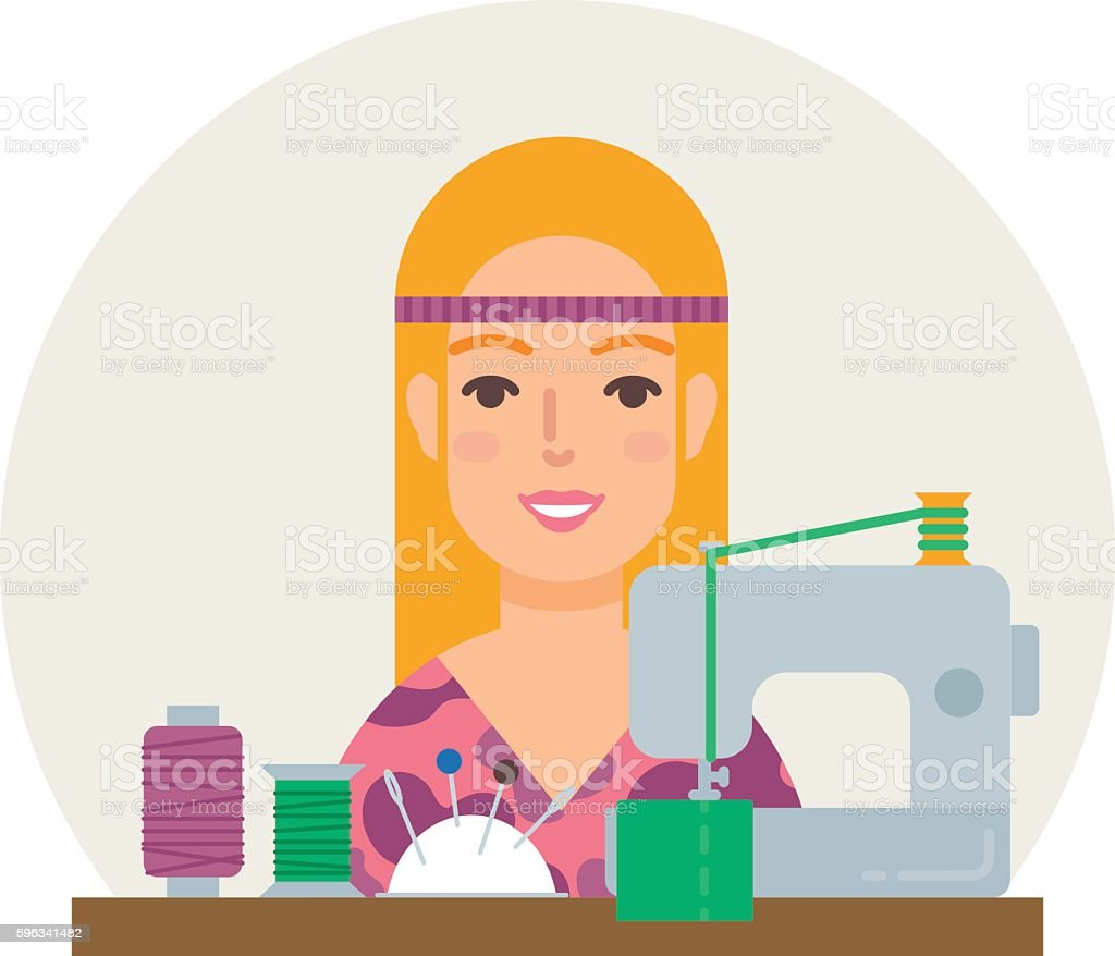 Hobby - sewing. Seamstress vector illustration flat style royalty-free hobby sewing seamstress vector illustration flat style stock vector art & more images of adult