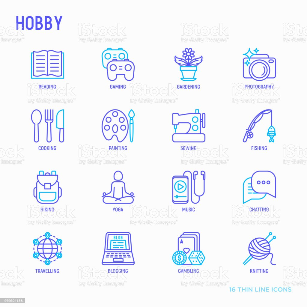 Hobby Thin Line Icons Set Reading Gaming Gardening Photography