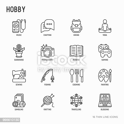 Hobby thin line icons set: reading, gaming, gardening, photography, cooking, sewing, fishing, hiking, yoga, music, travelling, blogging, knitting. Modern vector illustration.