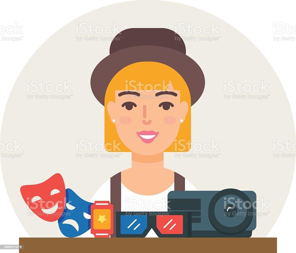 Hobby - Watching movies vector illustration flat style Lizenzfreies hobby watching movies vector illustration flat style stock vektor art und mehr bilder von bildhintergrund