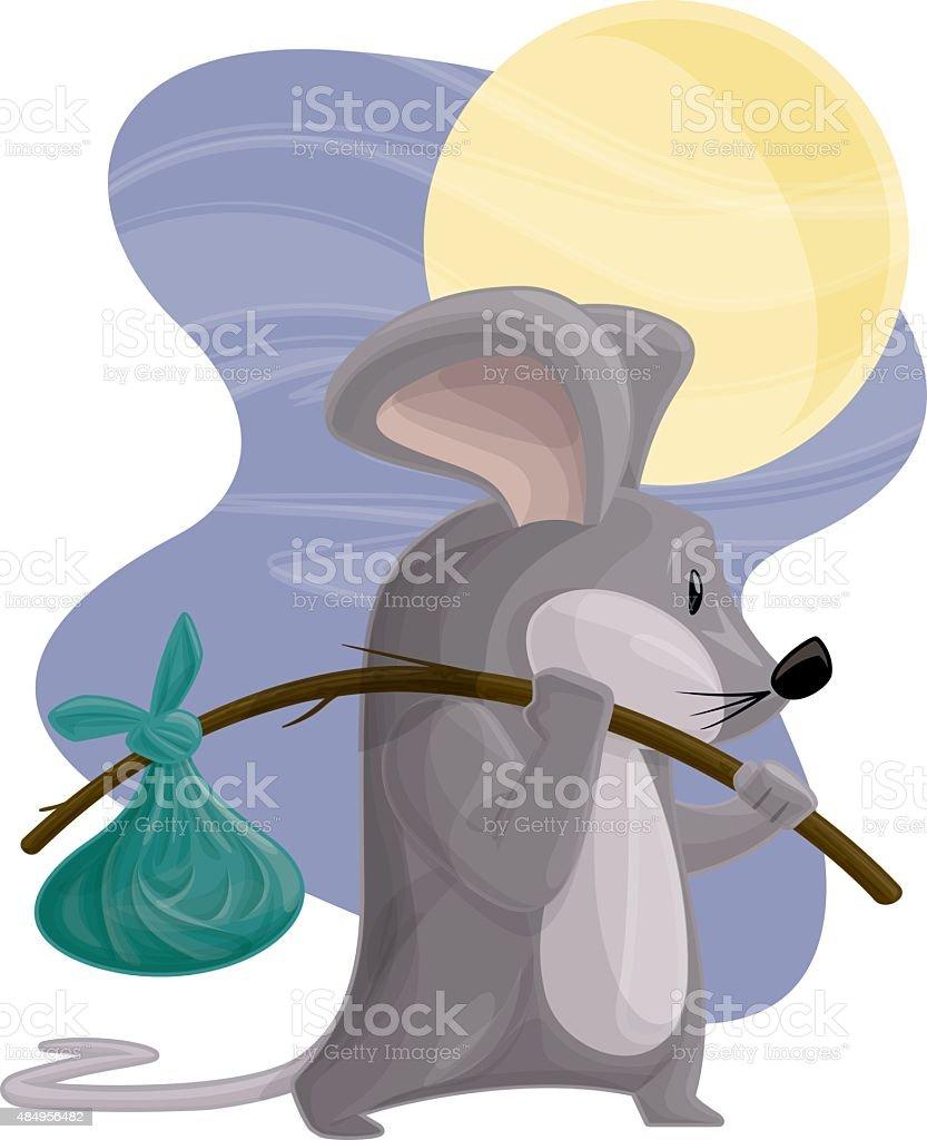 Hobo Mouse vector art illustration