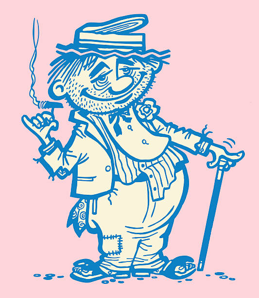 stockillustraties, clipart, cartoons en iconen met hobo smoking - guy with cigar