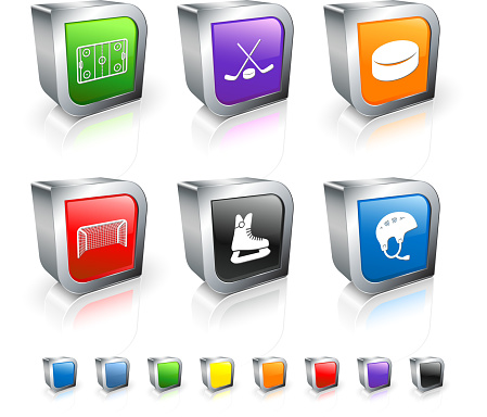 Hockey 3D royalty free vector icon set with Metal Rim