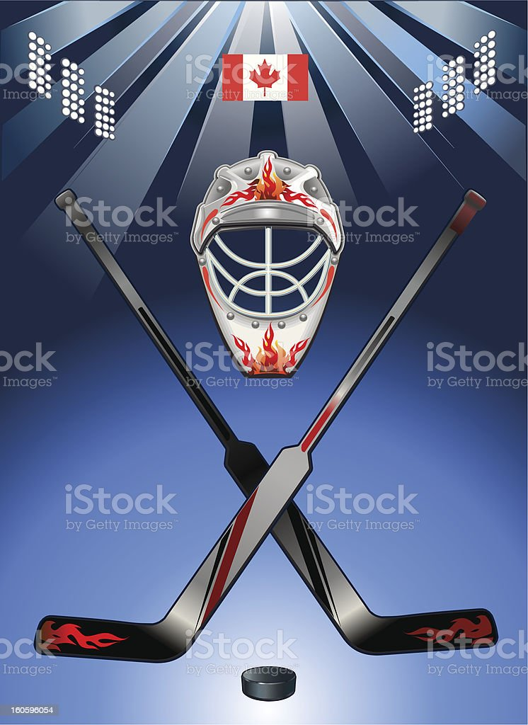 Hockey and Canada Flag royalty-free stock vector art