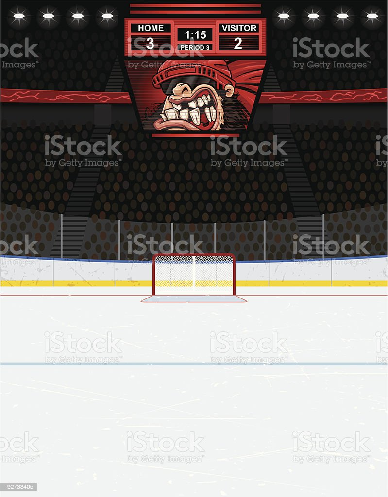 Hockey Arena Background (Version with Scoreboard) royalty-free hockey arena background stock vector art & more images of backgrounds