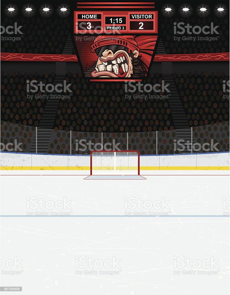 Hockey Arena Background (Version with Scoreboard) vector art illustration