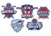 hockey badge design set