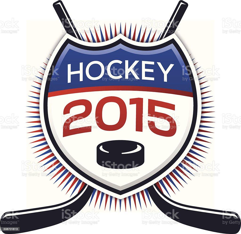 Hockey Badge vector art illustration