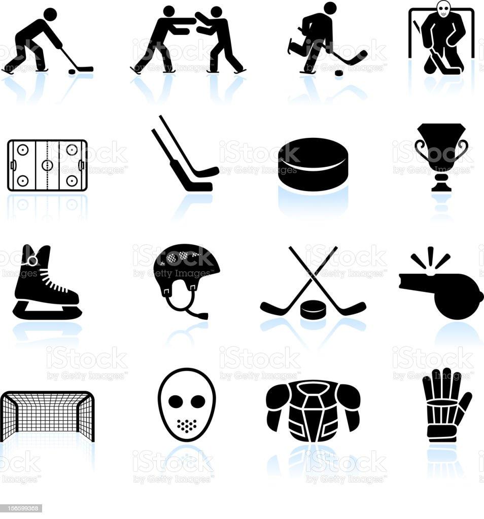 hockey schwarz und weiß lizenzfreie vektor icon-set – Vektorgrafik